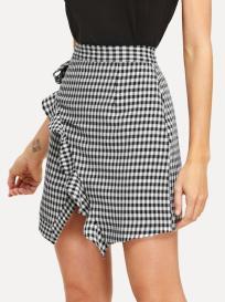 Shein Ruffle Trim Gingham Skirt