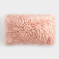 Oversized Blush Mongolian Faux Fur Lumbar Pillow
