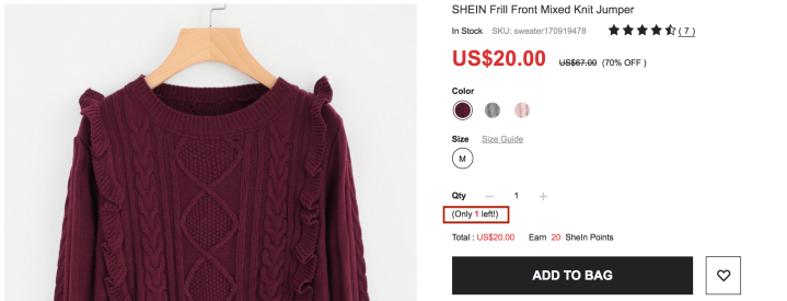 SheIn Low Inventory