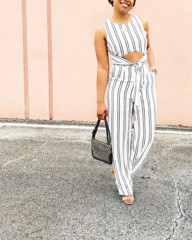 Instagram striped cut-out jumpsuit