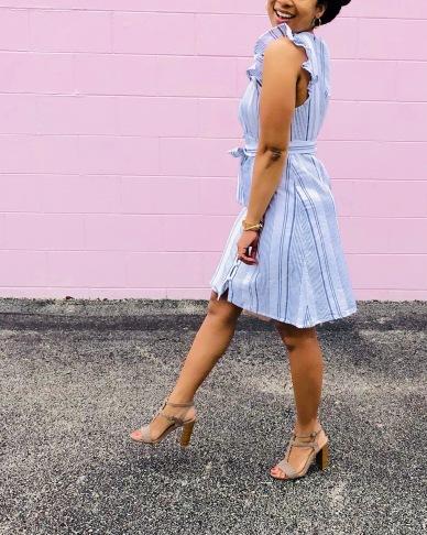 Instagram Forever 21 Linen Striped Dress