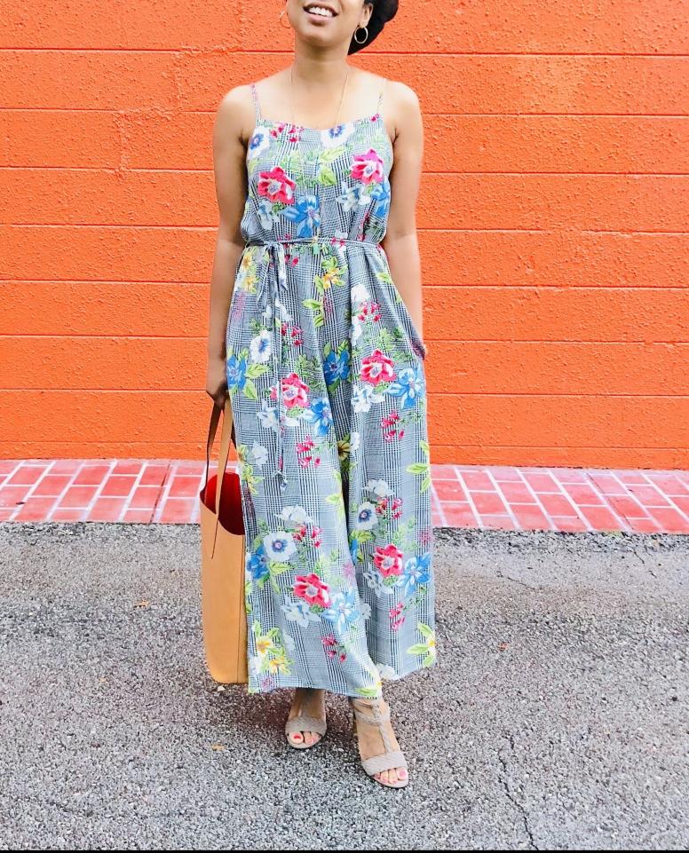 Instagram Forever 21 Houndstooth Floral Jumpsuit