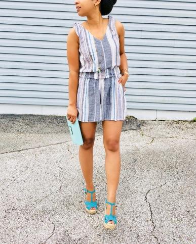Instagram Striped Linen Blend Two-Peice