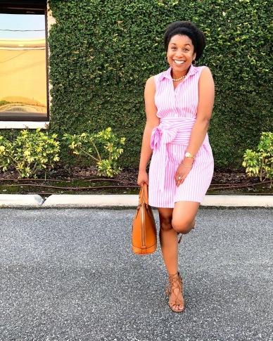 Instagram Striped Shirt Dress